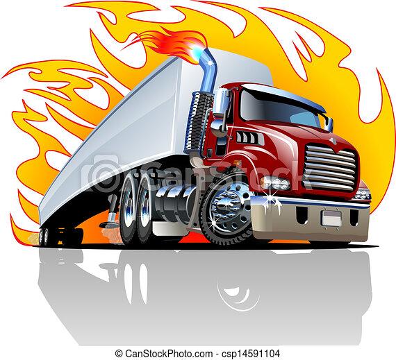 repaint, halb, one-click, vektor, truck., karikatur - csp14591104