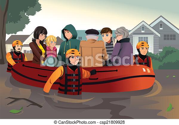 Rettungsteams helfen Menschen während der Flut - csp21809928