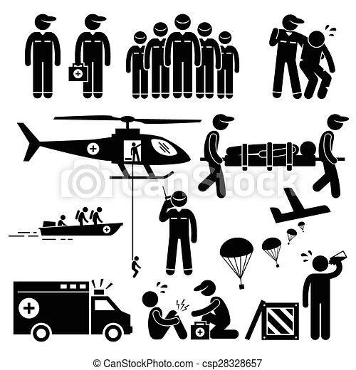 rettung, notfall, figur, mannschaft, stock - csp28328657
