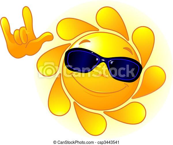 Süße Sonne mit Sonnenbrille - csp3443541