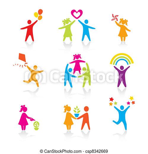 Ikonen - Silhouette-Familie. Frau, Mann, Kind, Kind, Junge, Mädchen, Vater, Mutter, Elternsymbol. Menschenvektor. - csp8342669