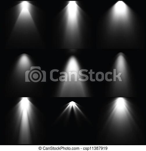 Schwarz-Weiß-Lichtquellen. Vector - csp11387919