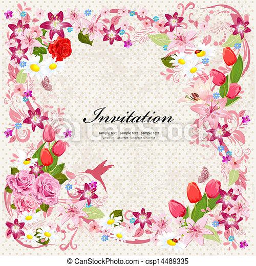 Schöne Blumen-Design-Einladungskarte - csp14489335