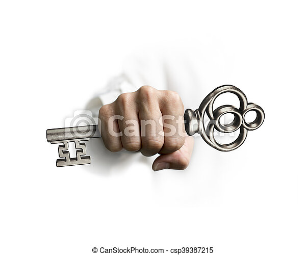 Die Hand hält den Schatzschlüssel - csp39387215