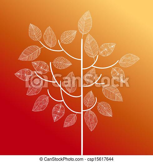 Hand gemalter alter Baum mit süßen Details auf jedem Blatt. Herbstsaison-Konzept. EPS10 Vector-Akte in Schichten für leichte Schnitte. - csp15617644