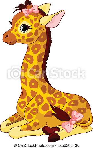 schleife, giraffe kalb - csp6303430