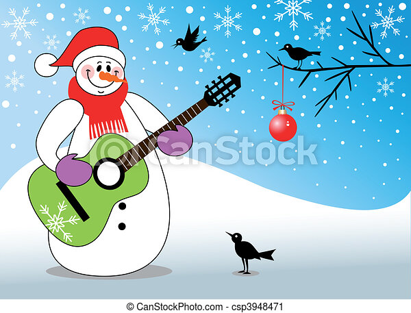 schneemann, gitarre spielen - csp3948471