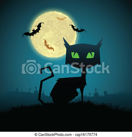 Schwarze Katze in Halloween Nacht. - csp16170774