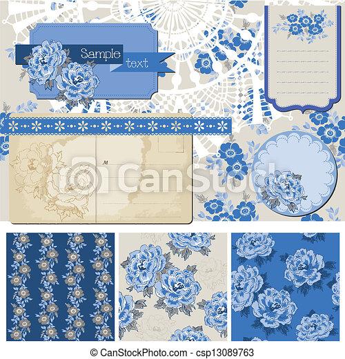 Scrapbook-Elemente - klassische blaue Blumen - im Vektor - csp13089763