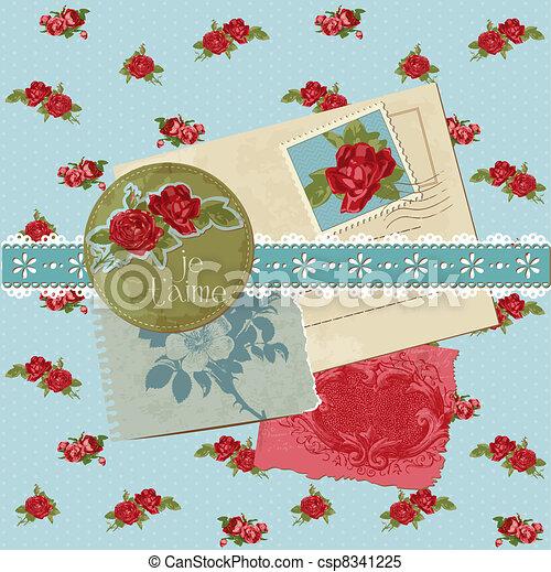 Scrapbook-Elemente - klassische Blumen im Vektor - csp8341225