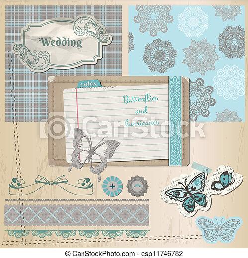 Scrapbook-Entwicklungselemente - Vintage-Lace Schmetterlinge - im Vektor - csp11746782