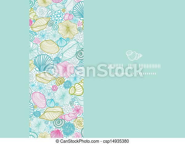 Seashells line Art horizontale Dekoration nahtloser Muster Hintergrund - csp14935380