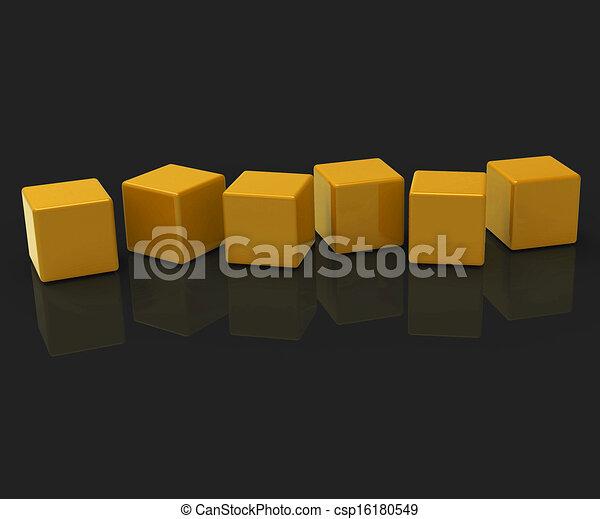Sechs leere Blocks zeigen Kopien für sechs Buchstaben - csp16180549