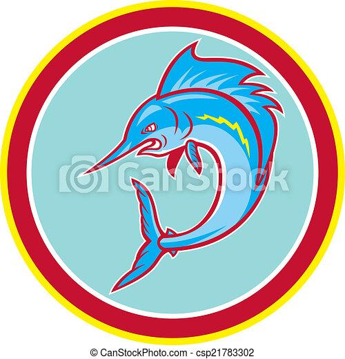 Seefischfische springen im Kreis Cartoon. - csp21783302