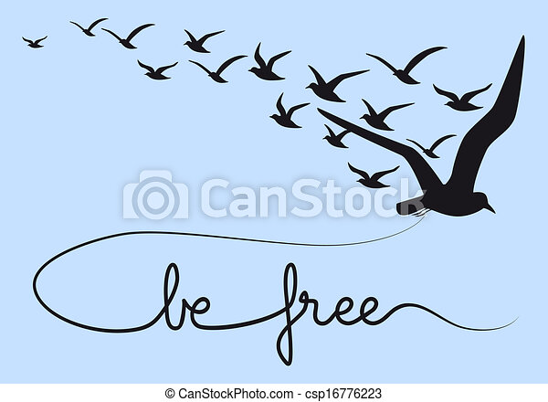Sei frei, Textfliegende Vögel, Vektor - csp16776223