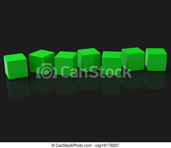 Sieben leere Blocks zeigen Kopien für sieben Buchstaben - csp16179207