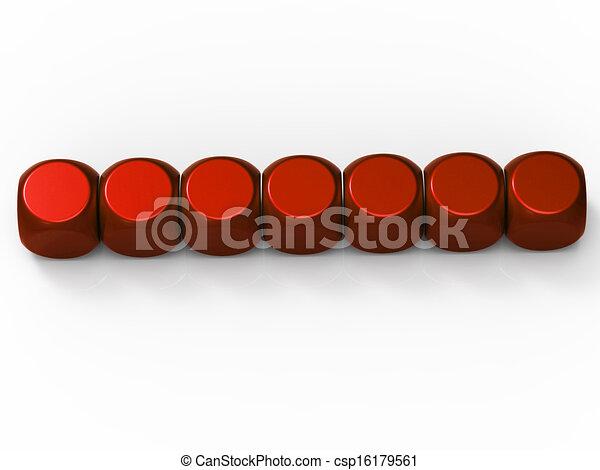 Sieben leere Würfel zeigen Hintergrund für sieben Buchstaben - csp16179561