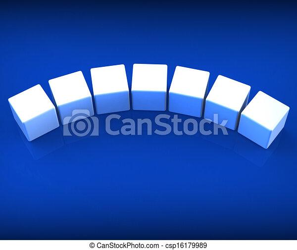Sieben leere Würfel zeigen Kopien für sieben Buchstaben - csp16179989
