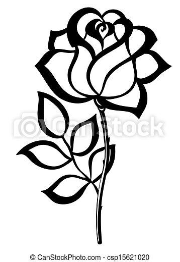 silhouette, grobdarstellung, freigestellt, rose, schwarz, white. - csp15621020