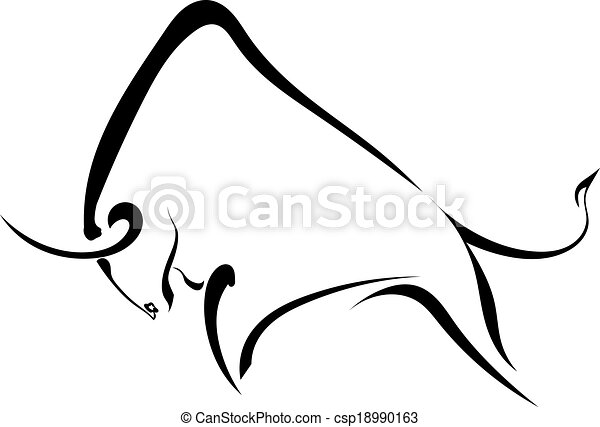 Silhouette, starker wilder Stier. - csp18990163