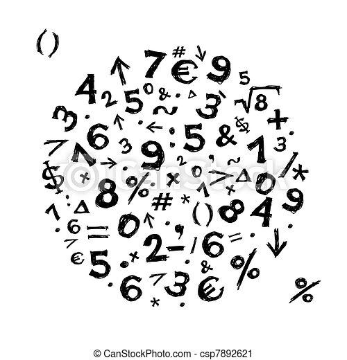 Sketch Rahmen mit mathematischen Symbolen für Ihr Design. - csp7892621