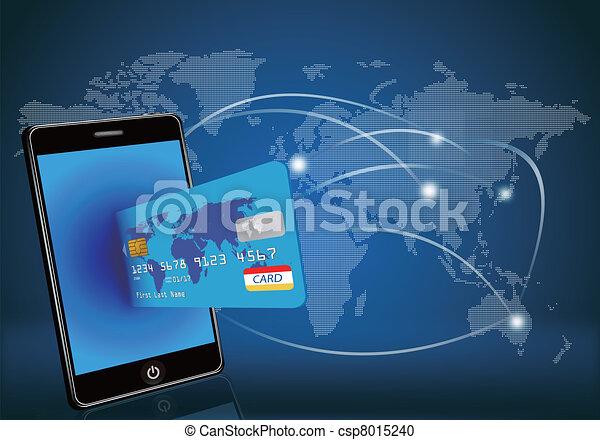Smartes Telefon mit Kreditkarte auf Glee - csp8015240