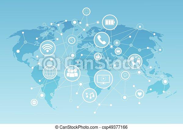 Social Media Icons über Weltkarte Hintergrundnetzwerk-Kommunikation Konzept. - csp49377166
