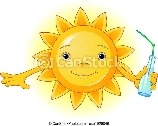 Sommersonne mit Flasche - csp1929046