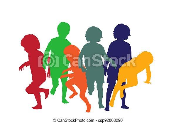 spielende kinder, 4, silhouetten - csp92863290