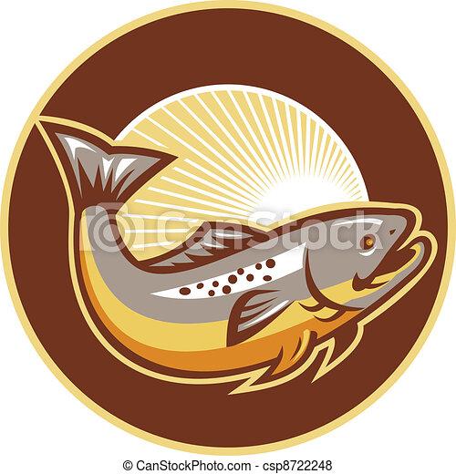 Troutfisch springt über den Sonnenbrand - csp8722248