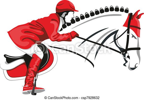 Springendes Pferd und Jockey - csp7928632