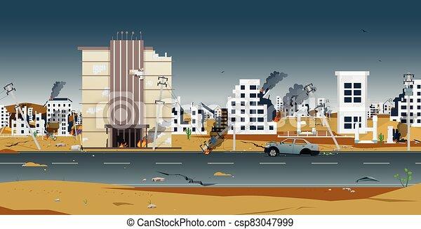 stadt, zerstörter  - csp83047999