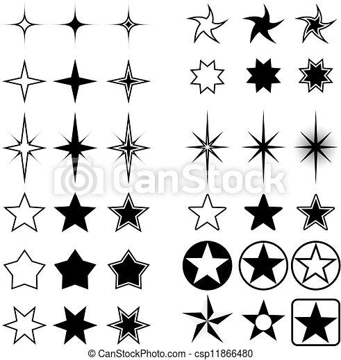 Starformen isoliert auf weiß. - csp11866480