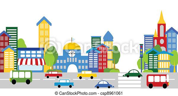 Stadtleben, Straßen, Gebäude, Autos - csp8961061