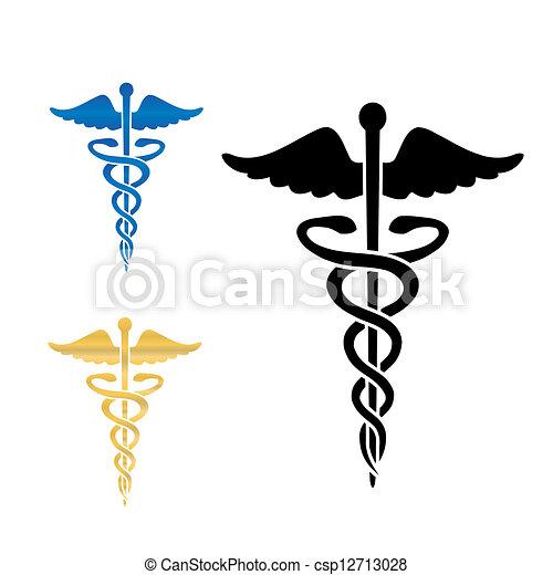 Caduceus, medizinisches Symbol für Vektor Illustration. - csp12713028