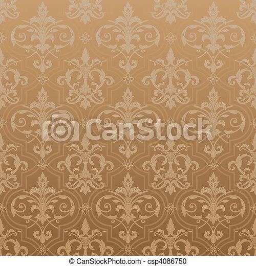 tapete, seamless, damast - csp4086750