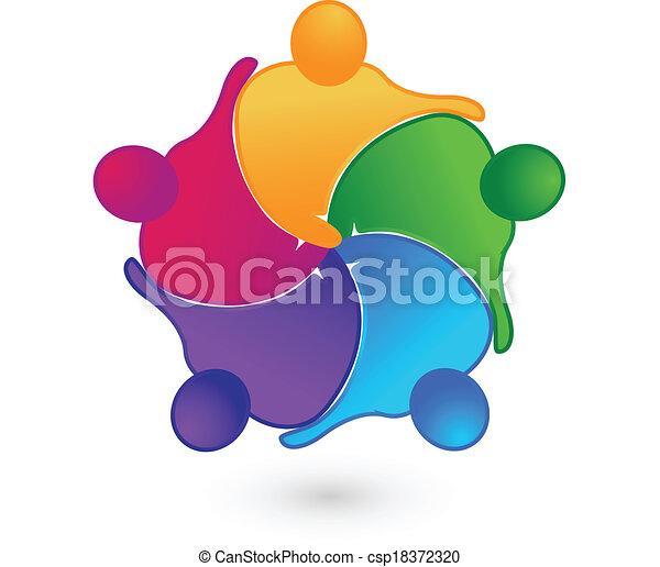 Teamwork Hand-Anschlüsse Logo. - csp18372320