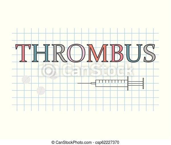 Thrombus-Wort auf kariertes Papierblatt - csp62227370