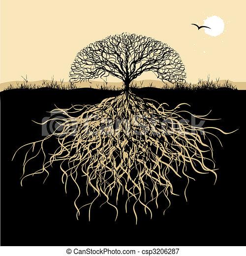 Tree Silhouette mit Wurzeln - csp3206287