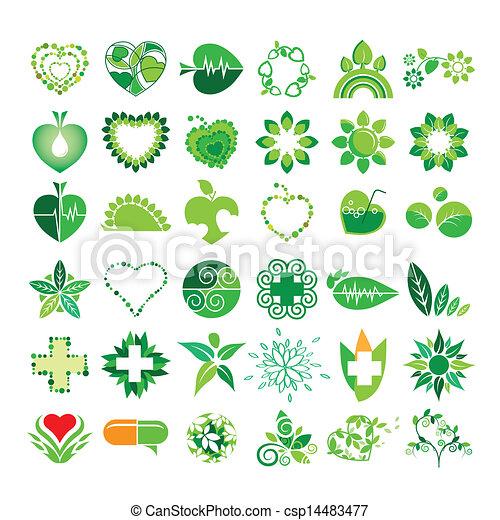 umwelt, logos, vektor, gesundheit, sammlung - csp14483477
