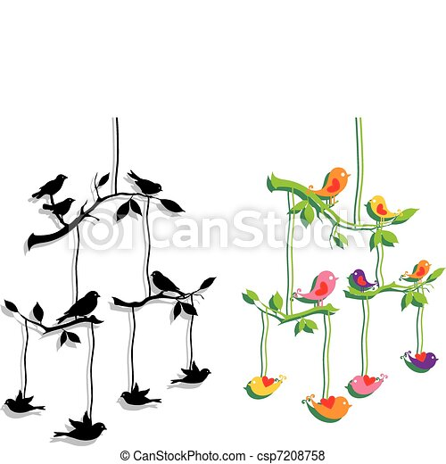 Vögel mit Ast, Vektor - csp7208758