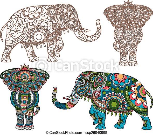 Vector indischer Elefant. - csp26840998