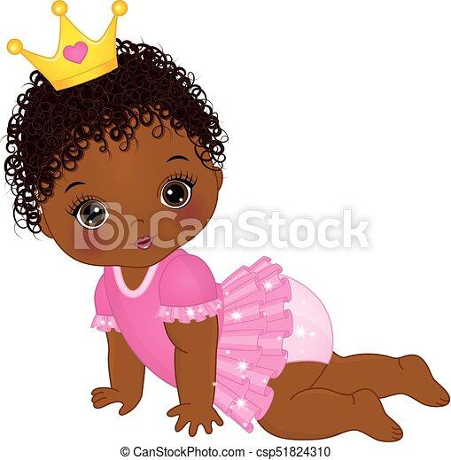 Vector süßes afrikanisches amerikanisches Mädchen gekleidet als Prinzessin - csp51824310
