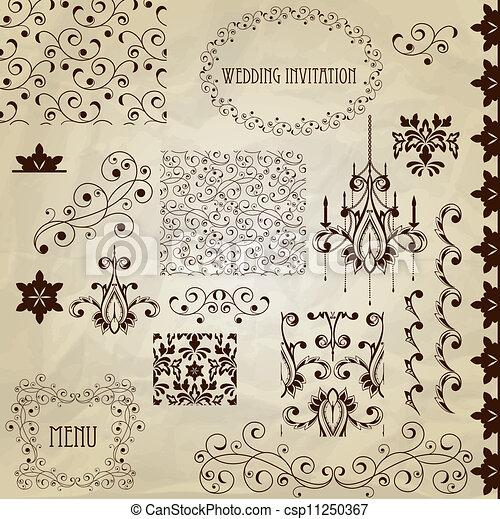 Vector Vintage Designelemente. - csp11250367