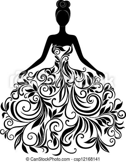 Vector Silhouette der jungen Frau in Kleid - csp12168141