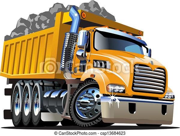 vektor, lastwagen, karikatur, müllkippe - csp13684623