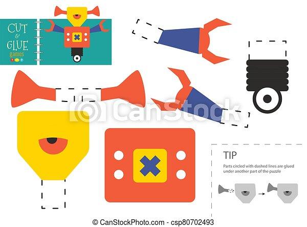 vektor, schneiden papier, roboter, zeichen, reizend, klebstoff, pappe, modell, toy., freisteller - csp80702493
