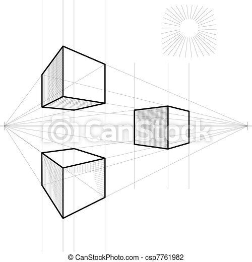 vektor, skizze, würfel, perspektive - csp7761982