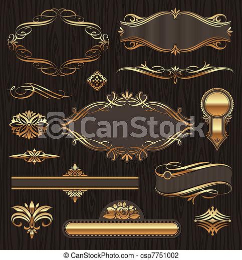 Vektoren aus goldenen Ornate-Seiten-Elementen: Transparente, Rahmen, Devider, Zierde und Muster auf dunklem Holzgrund - csp7751002