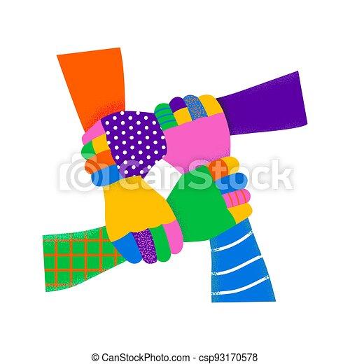 verschieden, gemeinschaftsarbeit, bunte, hände, leute, besitz - csp93170578